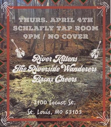 It's gonna be a great Thursday night!! @thebronxcheers @theriversidewanderers at @ Schlafly Tap Room . . . #upcomingshows #riverkittens #allievogler #mattieschell #schlafly #livemusic #stlmusic