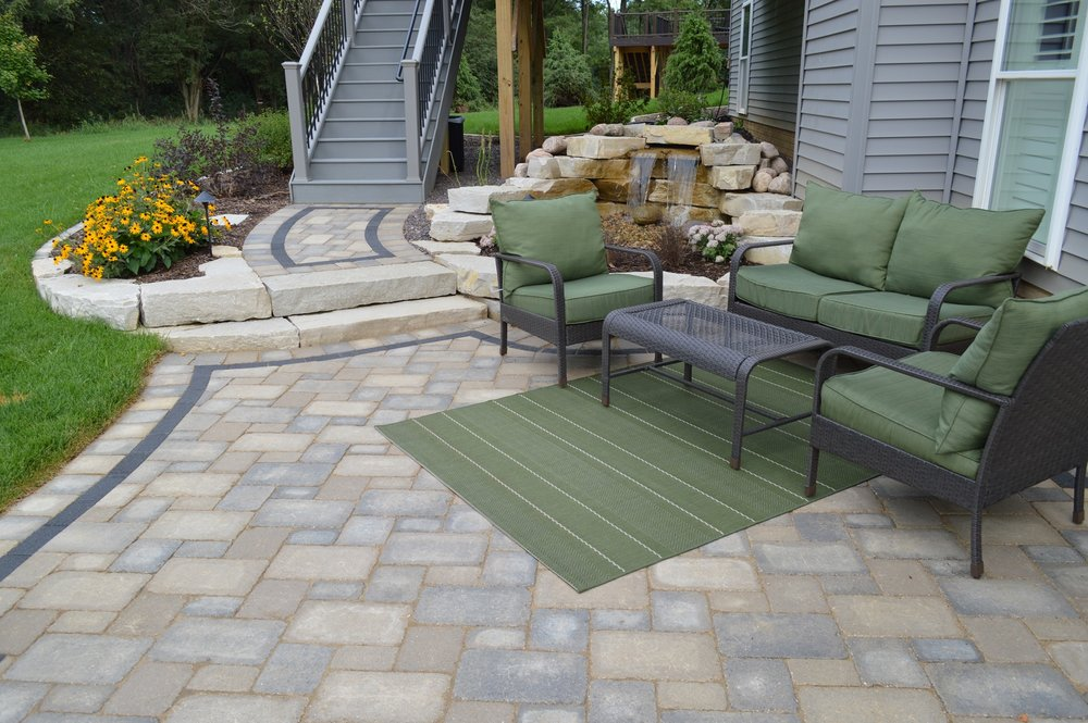 Patio with stunning water feature in East Peoria, IL