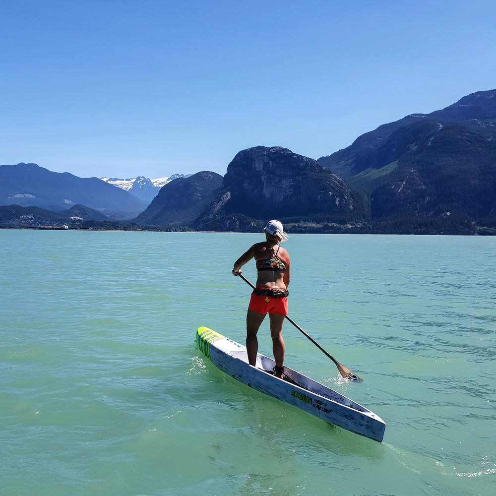 Paddling in Squamish BC just after the Canadian Downwind Champs in July 2018