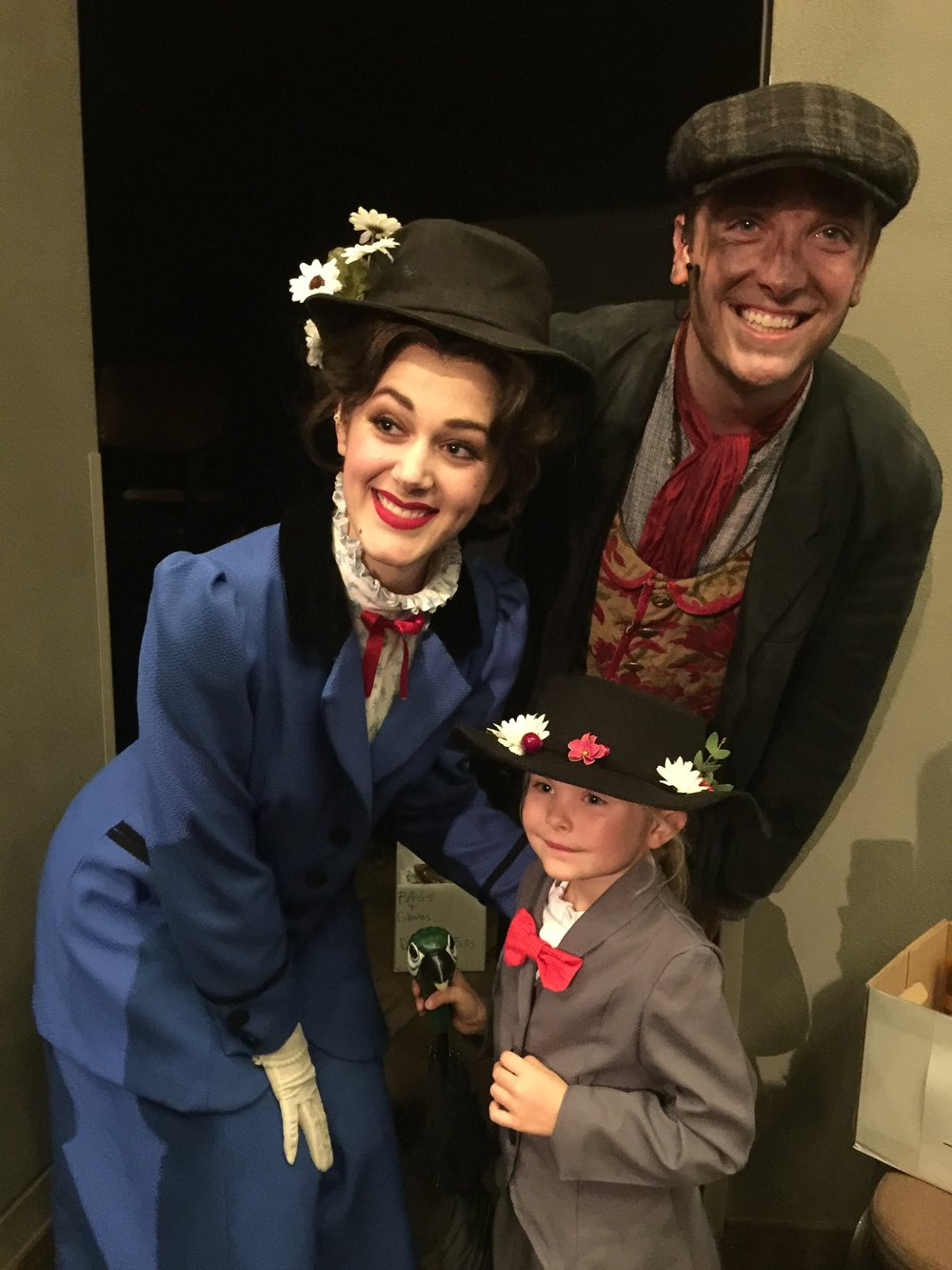 "a ""super fan"" with becca hart (mary) and c ryan shipley (bert) after a school day performance of  Mary Poppins."