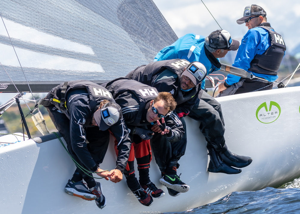 2018 Melges 24 World Champions    -ITA722 ALTEA - Italy -Andrea Raachelli- helm,Filippo Togni, Gaudenzio Bomni, Matteo Ramian, Michele Gregoratto - Photo: IM24CA/ZGN      STAGE 2 - 2018 WORLD CHAMPIONSHIP, VICTORIA, BC  (June 5-9) Andrea Rachelli's ITA722 ALTEA landed on Vancouver Island, stepped onto a chartered boat one day before the event and immediately took command of the championship by posting three wins and two 5ths in the first five races. By the time the normal (windy) weather pattern had returned on the last day ALTEA had all but secured the trophy. Alan Field's team of So-Cal surfers on CAN829 WTF took second and Richard Reid's polished east coast team on CAN853 ZINGARA got the bronze.  Victoria's Bob Britten on CAN415 FULL CIRCLE posted another win for the week and a few top-10 finishes to place 10th overall and first in the Corinthian division. Team USA806 GOOD ENOUGH the MacGregor/Hammer partnership from Seattle finished 11th overall and 2nd in the Corinthian division. Mike Bond's CAN 591 HOLD MY BEER left the party in time to finish 13th overall and 3rd in the Corinthian division to complete the all-Puget Sound Corinthian podium.   Results   2018 Worlds on Twitter