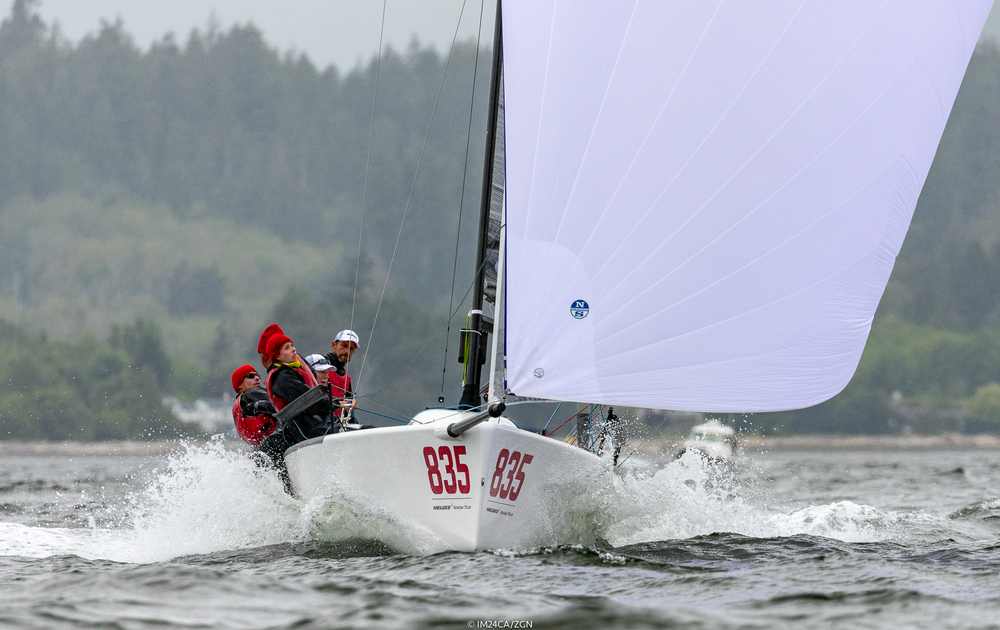 """2018 Melges 24 US National Champions -    CAN835 MIKEY -Jeff Madrigali-helm, Ian Sloan-trim, Kevin Welch owner & mast, Serena Village-bow - Photo: IM24CA/ZGN     2018 Melges 24 US National (Corinthian) Champions -    USA549 AVERAGE,Santa Barbara, California -Kent Pierce- helm & co-owner, Eric Stokke-jib & downwind tactics & co-owner, Jon Bell- upwind tactics & spin,Lauren Bell-mast, Sarah Schaupeter-bow    STAGE 3 (FINALE) -   2018 DIVERSIFIED U.S. NATIONAL CHAMPIONSHIP, BELVEDERE, CA  (Sept 7-9) The 2018 M24 NorAm Tour finished in style on the Berkeley Circle of San Francisco Bay. Many in the fleet considered this some of the best big-air MELGES 24 sailing they had ever experienced. Each day ofthisfinal Stage of the Tour started with a warm and sunny 15-16 knot breeze that built to 24-27 knots.  Soling Olympic medalist and Melges 24 veteran, Jeff Madrigali made a much anticipated return to the helm of Kevin Welch's CAN835 MIKEY to help the2017 M24 North American Championship victors and M24 NorAm Tour champion team claim the 2018 US Nationals. Richard Reid's CAN853 ZINGARA finished a close second and Kent Pierce's USA549 AVERAGE turned in a solid performance for third overall and first in the Corinthian division.   2018 M24 NorAm Tour Champion - Richard Reid  had the following to say about the tour's final Stage on Berkeley Circle -   """"I'd always heard that 'The Bay' offered some of the best sailing you would do in a Melges 24 and I'd still say it was under rated! Reliable building breeze, square courses, great officiating and of course killer view. The SFYC was neat, friendly and poured the perfect martini, and who could argue with the view from that deck.""""   Here's some background on Zingara's success by Reid:  """"Thanks for the recognition, as you know this is a boat/fleet that rewards teamwork and practice so we stick to the following few basics:    An active playbook that updates settings and modes    Ongoing worklist and inventory sheet to keep Zing in top form"""