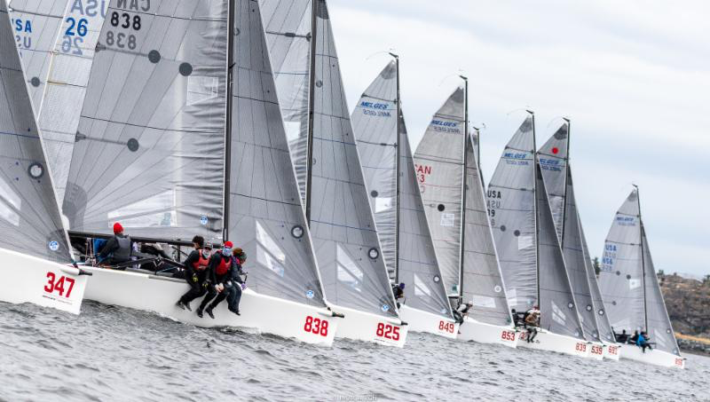 Melges 24 fleet on the starting line in Victoria on Day Three of the 2018 Melges 24 Worlds.- Photo (c)IM24CA/Zerogradinord