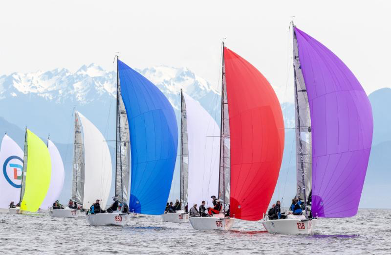 Sailing on Day Two of the Melges 24 World Championship 2018 with the Olympic Mountains in the background.- Photo (c)IM24CA/Zerogradinord