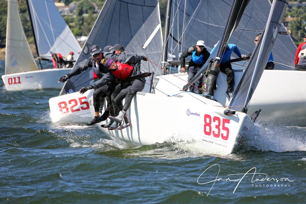 """(A good year) MIKEY (USA835), WARCANOE (USA825) and GOES TO ELEVEN (CAN011) grinding out a beat at the windy North American (NorAm) Championship on the enchanted Columbia Gorge    """"MIKEY really likes the M24 NorAm Tour, which brings great teams together at the championship venues in Canada and the US. We're looking forward to 2018 when the M24 NorAm Tour takes us to two exceptional venues- Victoria, BC (CNats & Worlds) and San Francisco (US Nationals)."""" - Trimmer and Team Manager, Ian Sloan.  Michael Goldfarb's  WARCANOE (USA 825)  of Seattle finished a convincing 2nd Overall on the Tour by earning a 5th place at the Charleston US Nationals and a 2nd at the NorAm Championship at the Gorge. Although fairly new to the Melges 24, Goldfarb is no stranger to the Gorge, having raced Lasers out of Cascade Locks for years.  Third overall went to Brian Porter's  FULL THROTTLE (USA849) , who pulled off a 6th US National Championship victory before spending the rest of the season on Lake Geneva where his Melges 24 is always ready in a lift next to the dock.  Wet Coast Sailing's  SUNNYVALE (CAN151)  won the M24 NorAm Tour Corinthian Title for the second year in a row.  SUNNYVALE  was the top Corinthian boat and placed 3rd in the Open Division of the M24 NorAm Championship at the Gorge, which earned them 60 points overall.  A couple points back and 2nd in the Corinthian Division was KC Shannon's  SHAKA (USA801)  of Atlanta.  SHAKA  sailed all three Stages of the M24 NorAm Tour and the team's skill and enthusiasm was infectious."""