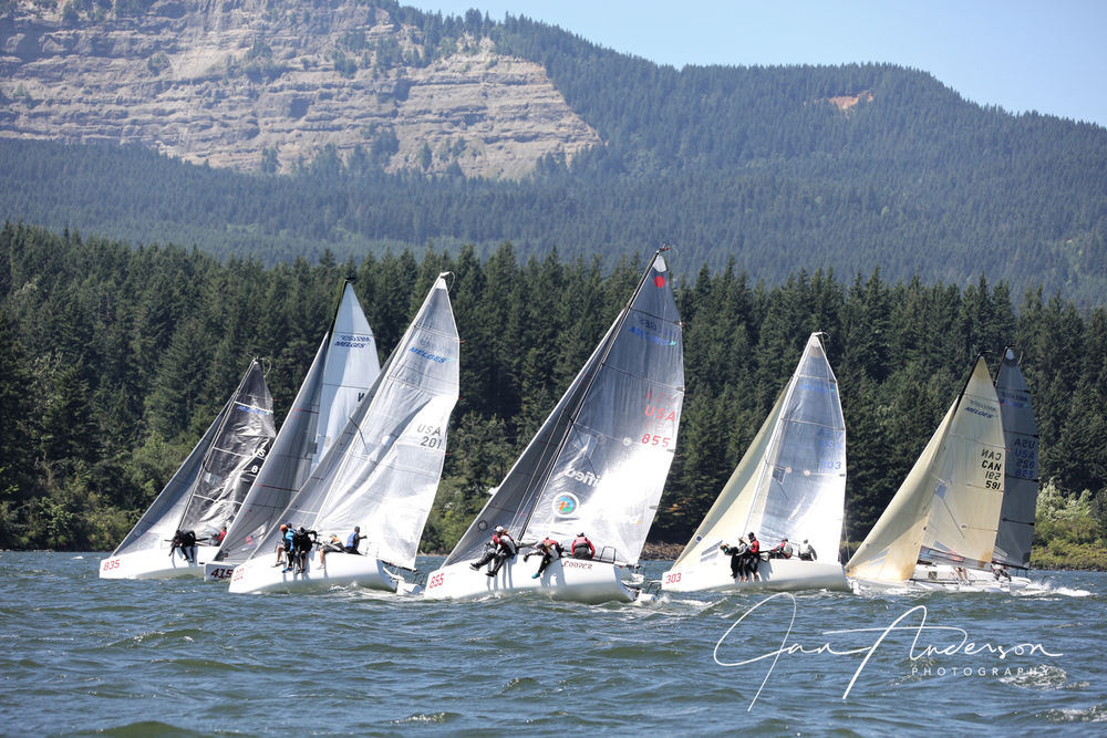 "Close racing at the front of the pack. Maybe hard to duck in breeze?    Day#3  More sun with wind ranging 13-18 knots the course showed some upwind strength in the middle and on the Washington side. The runs featured pressure near Skamania Cove and wind bands down ""Morgan Larson's Oregon Trail"". Rewards on the runs were for commitment to a side, with few lanes across the middle.   Daily Top 5– USA835 Mikey (2-1-1), USA 825 Warcanoe (1-2-6), USA303* Average White Boat (5-3-8), CAN151* Sunnyvale (7-5-5), CAN222 Light Scout (12-7-4)    Day#4  The final day delivered 3 great races in a mix of wind ranging 12-15 knots. The upwind leaders came from the Oregon shore at the bottom but a few teams made money in the current on the Washington side with occasional righties near the top. The runs favored those who stayed in pressure within 1/3 mile of the Oregon shore, and threw a couple cookies to those who could manage the port layline from far out.   ""You spooked us with the wing-and-wing but I should thank you for sending us to Oregon for one more puff on the right corner"" – Robert Britten CAN415 Full Circle   Daily Top 5– CAN151*Sunnyvale (3-2-1), CAN415* Full Circle (5-3-4), USA303* Average White Boat (9-1-2), CAN222 Light Scout (4-11-6), CAN371* Lekker (8-4-11)    Day#5 (Travel Day)   On Sunday a few teams awoke to a warm 24-36 knot breeze for the travel day- perfect for bringing the boat around and packing up, or for catching some extreme windsurfing and kite boarding in Hood River, (over a beer and a taco, that is) while planning the next big-wind Stage of the Melges 24 NorAm Tour.  "" CGRA did a fantastic job. After Victoria (2018 Worlds) we'll be back for the Columbia Gorge One Design (CGOD) on the way to 2018 US Nationals in San Francisco"" – Malcolm Smith and Gord Galbraith, CAN371 Lekker."
