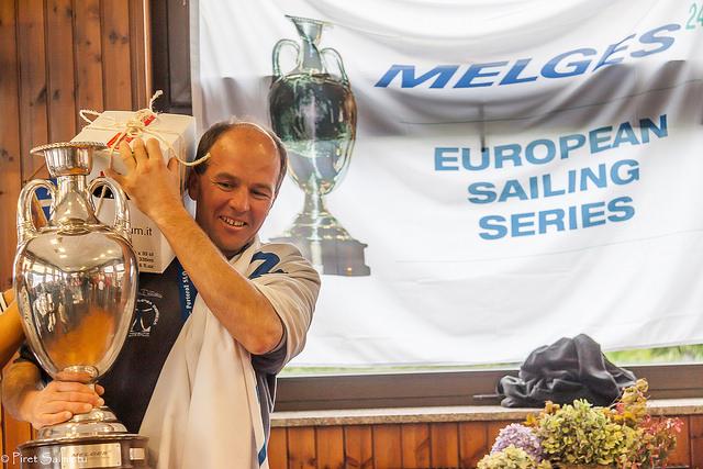 The winner of the 2016 Melges 24 European Sailing Series - Andrea Racchelli and Altea ITA735 - with the perpetual trophy of the Melges 24 European Sailing Series at the end of 2016 European series in Luino - photo (c) Piret Salmistu
