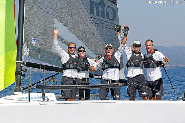 The best Corinthian team of the 2016 Melges 24 European Sailing Series - Miles Quinton's Gill Race Team GBR694 celebrating their Corinthian division victory at the Marinepool Melges 24 European Championship in France - photo (c) Pierrick Contin