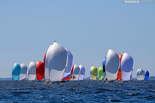 Melges 24 fleet at the 2015 World in Middelfart, Denmark - photo Pierrick Contin