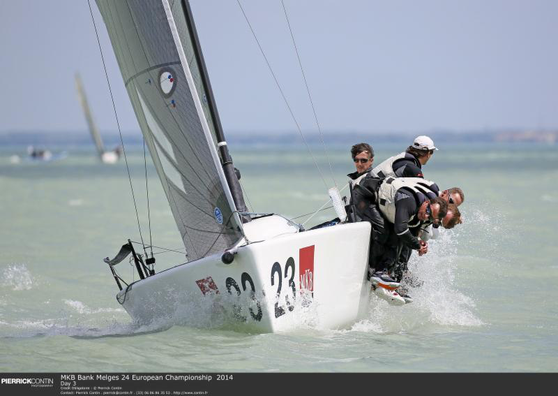 Matteo Ivaldi was helming Franco Rossini's Blu Moon to the victory of the 2014 Melges 24 Europeans - photo Pierrick Contin