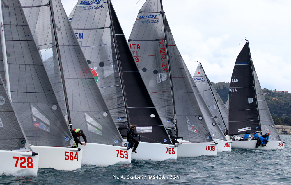 Melges 24 fleet in Portoroz - Day One of the 2109 Melges 24 European Sailing Series' 1st event - photo (c) Andrea Carloni/IM24CA/ZGN
