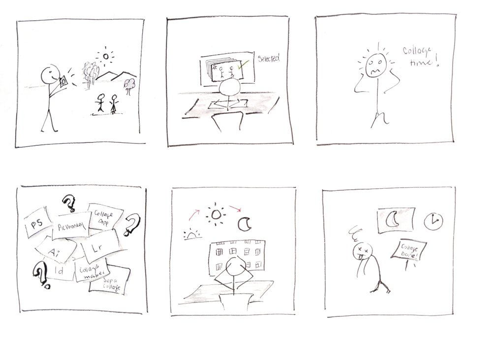 The storyboard shows a day in the life of a family portrait photographer who struggles when it is time to make collages.