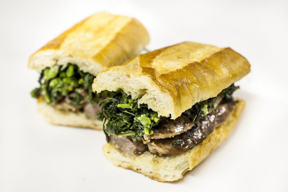 Grilled Sausage and Broccoli Rabe Sandwich