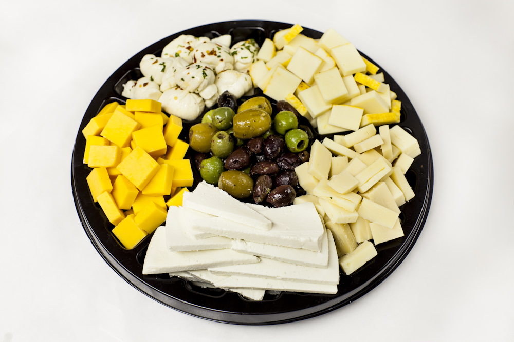 Mozzarella, Swiss Cheese and Cheddar Cheese Tray with Olives