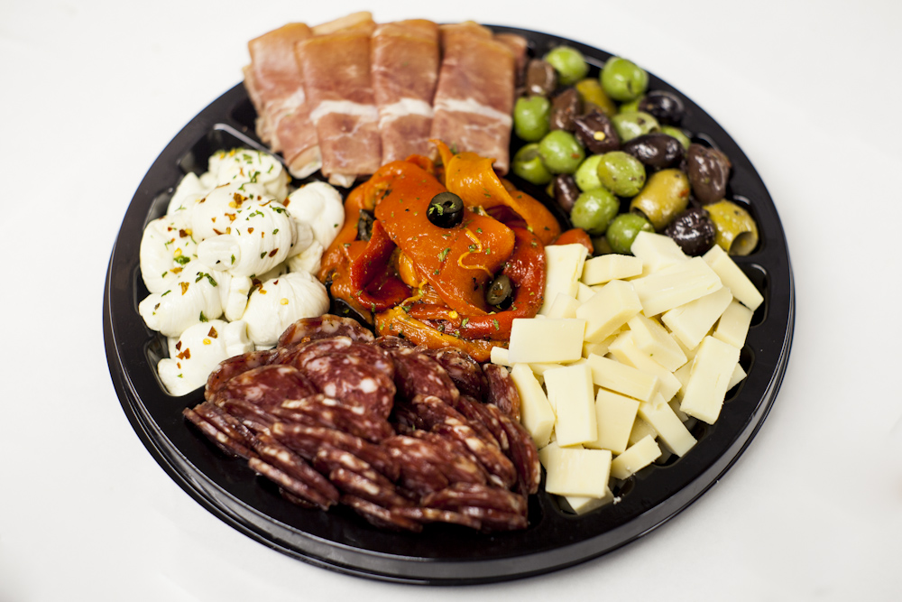Bowl with Salami, Mozzarella, Olives and Cheese