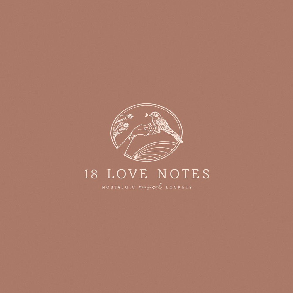 18 Love Notes Logo by Mel Volkman Nostalgic Logo Ethereal Logo Dreamy Logo Ethereal Branding Hand Bird Illustration Musicical Notes Floral Logo.png