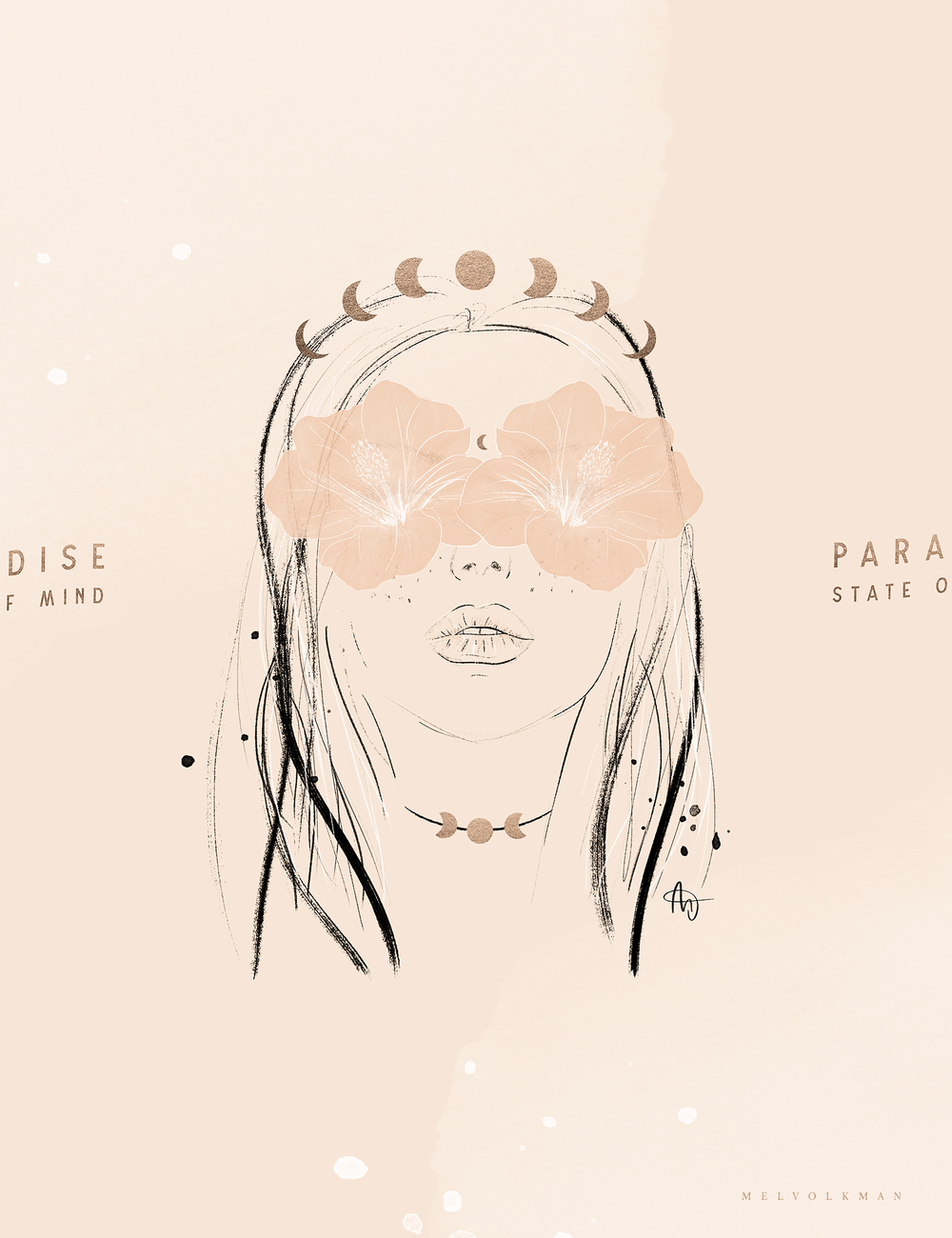 Paradise State Of Mind Fashion Illustration Hibiscus Illustration Moon Phase Goddess Moon Illustration Female Face Illustration.png
