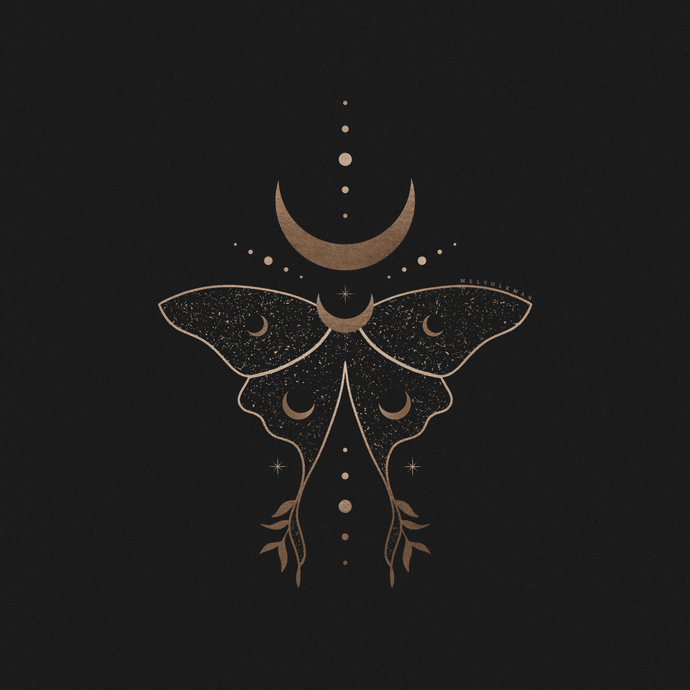 Cosmic Luna Moth Illustration by Mel Volkman Esoteric Illustration Mystical Moon Illustration Witch Illustration Cosmos Illustration Tattoo Design Butterfly Illustration Astrology Illustration.png