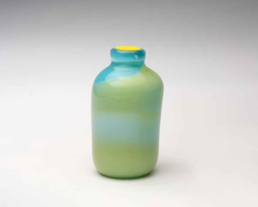 Kefir Culture Quart Carafe (with found plastic lid)    Blown glass, plastic lid 7.5x4x4 inches 2017