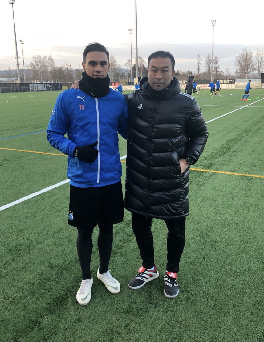 WPSS director of football Hiroshi Miyazawa with Mata on his recent visit to Switzerland.