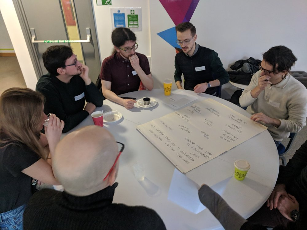 One of our workshopping tables deep in flow.