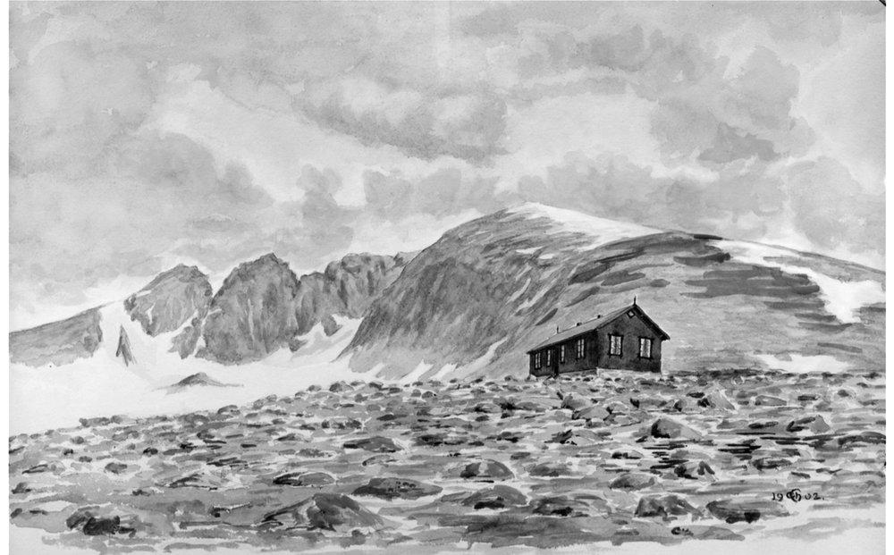 Akvarell av gamle Reinheim. I dag ligger hytta som kalles Reinheim i Stroplsjødalen nord-øst for Snøhetta.
