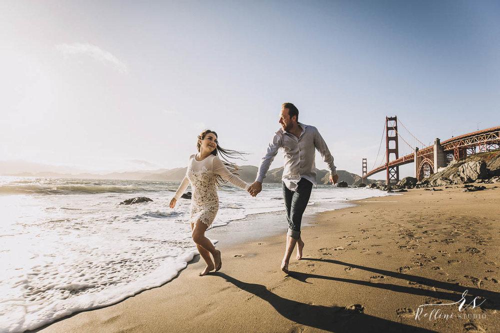 Engagement photo session in San Francisco, Rellini art studio destination wedding photographers