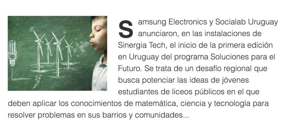 La empresa Samsung extiende a Uruguay Soluciones para el Futuro -