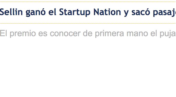 Sellin ganó el Startup Nation y sacó pasaje para Israel -