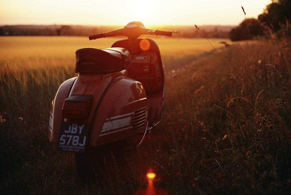 Motovespa GT160 basking in the July late evening sun of 2018's summer heatwave