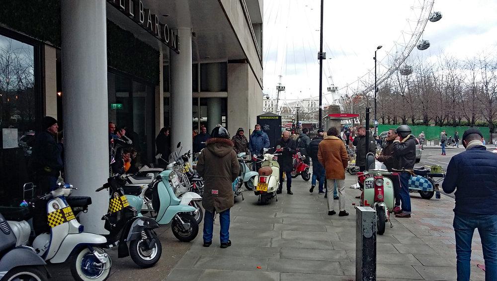 Kickstart riders gathering Thameside at the London Eye.