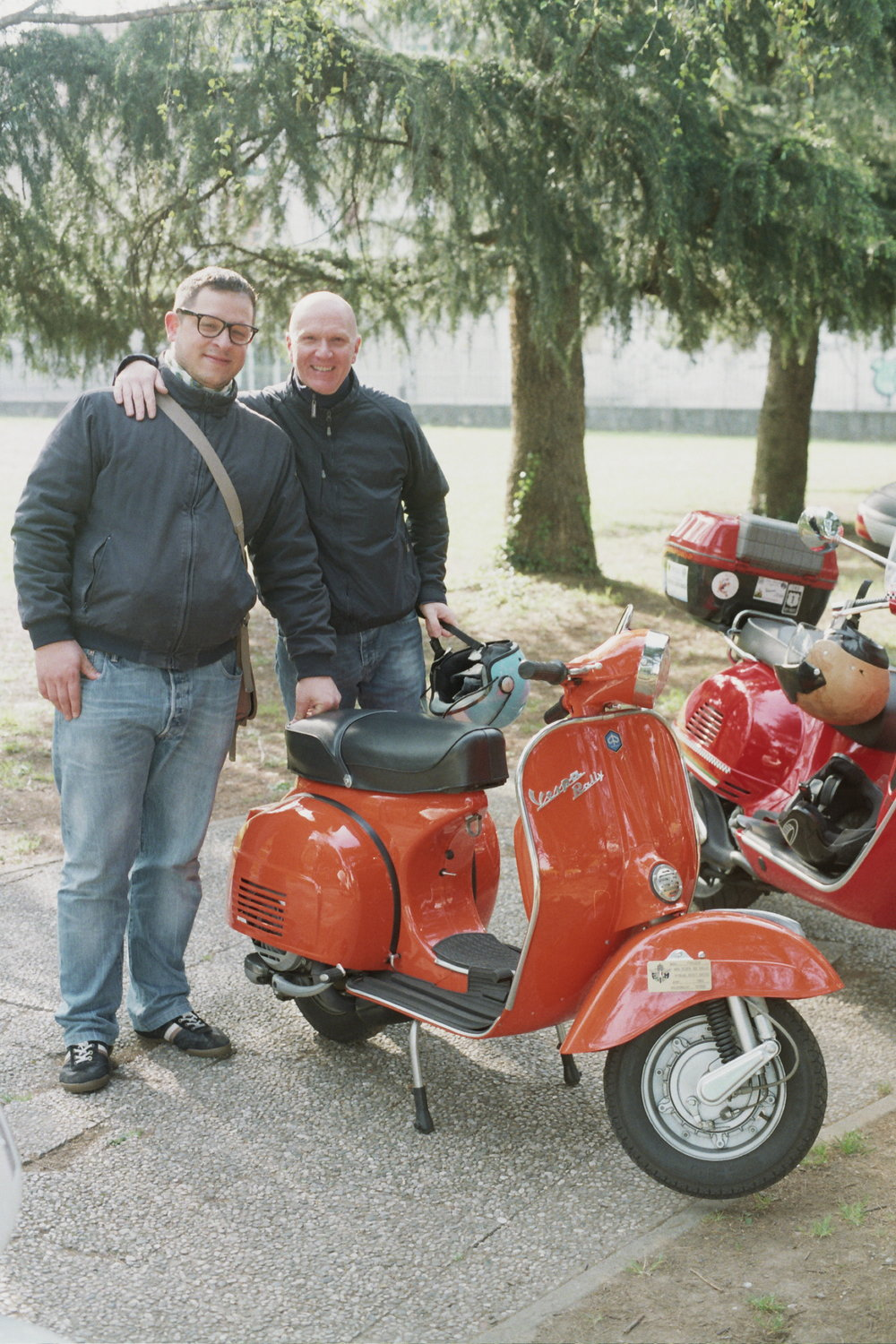 Fede on left, with friend and owner of a beautifully restored Rally 180 - April 2015