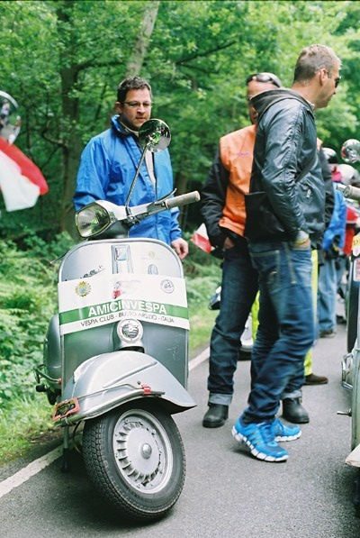 Fede with his Vespa Sprint in Epping Forest - London WVD2012
