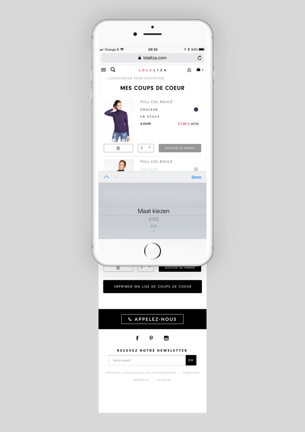 Concept and design of an E-commerce feature for a Belgian fashion brand