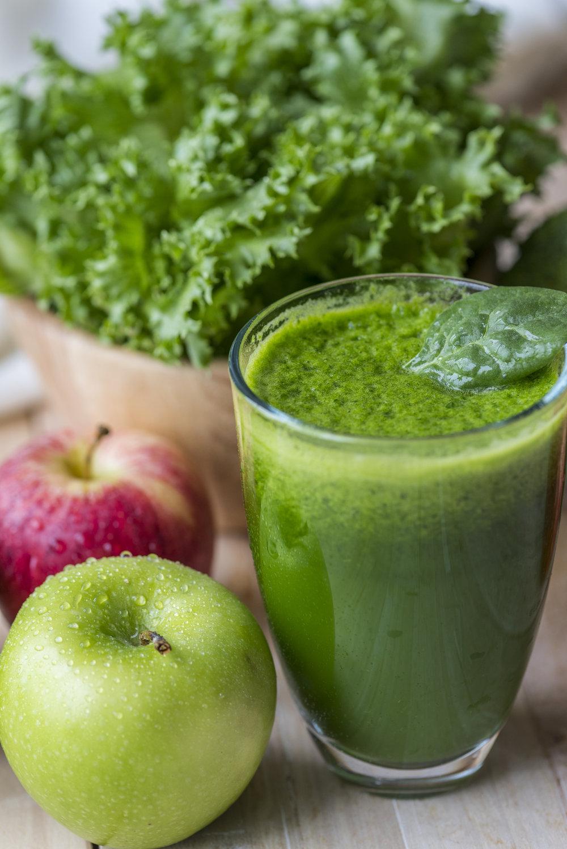 Fresh green smoothie macro shot