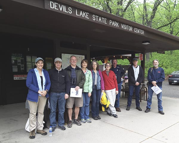 2018 Geology Tour group members, led by Bernadette Greenwood (at left)