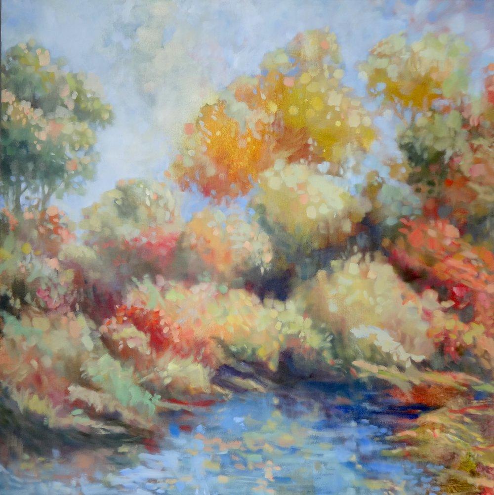 "Vibrant Shores #3 , 2016 oil on canvas 40""x40""  $2900"