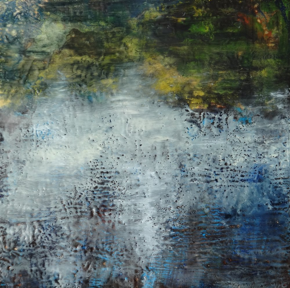 "Reflected Shoreline,,  2015 encaustic on wood panel 30""x30""  $1500"