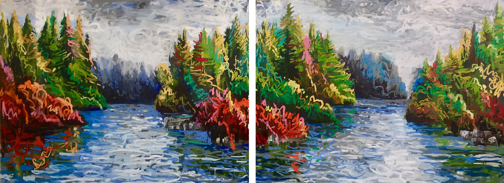 "Squiggle Coast 21A and 21B (diptych) , 2018 encaustic/mixed media on wood, 36""x96"".  SOLD"