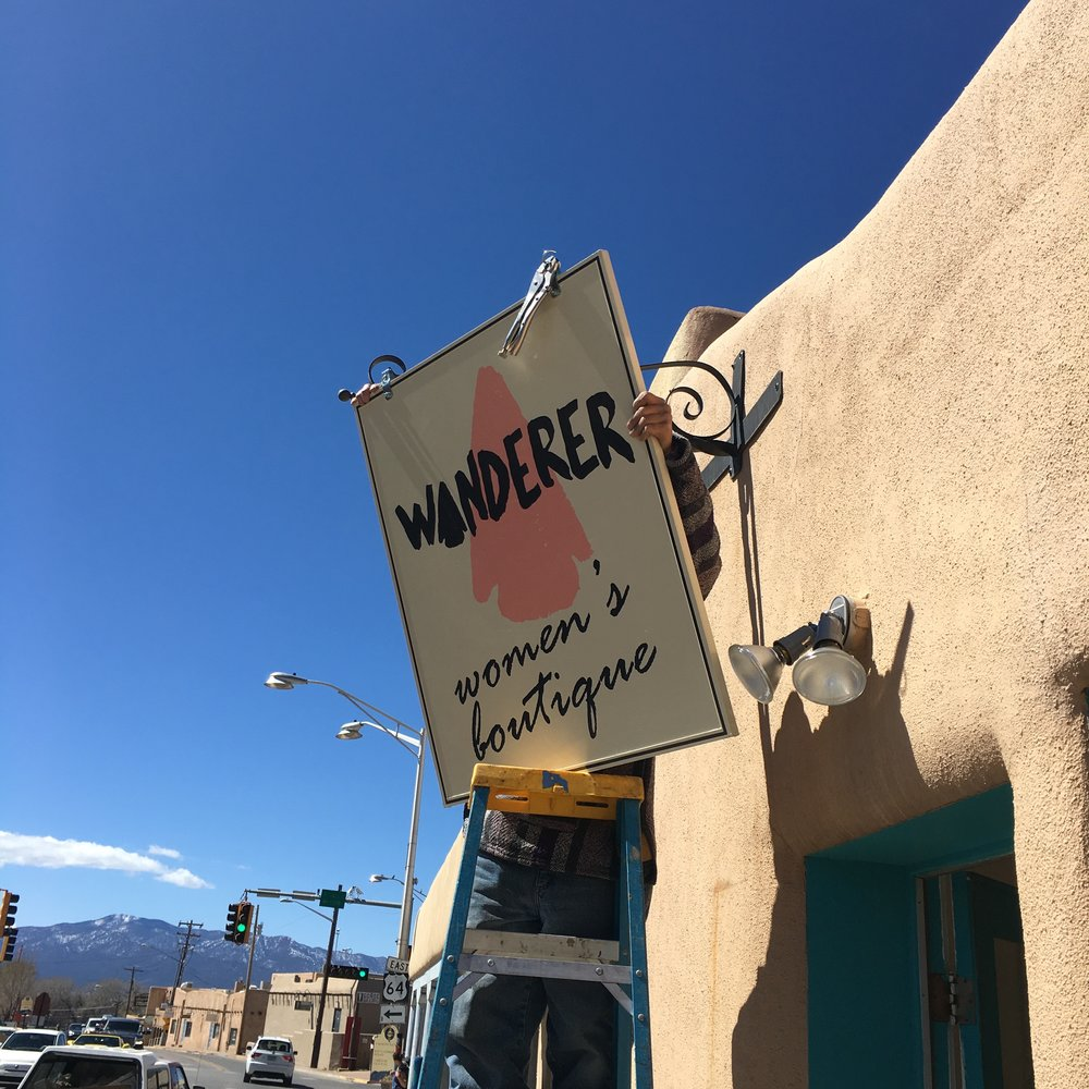 This is my first sign in Taos, which now sits homeless in my driveway on 5th Avenue.