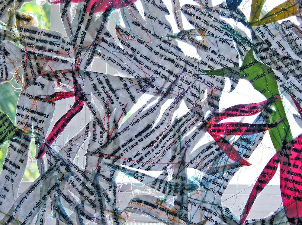 CURTAIN   (detail) Emails, thread, gel medium | 58 x 60 inches
