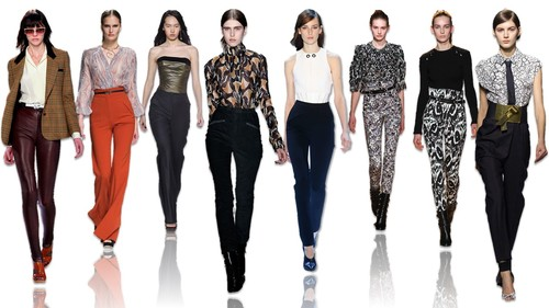 Click image to enlarge. Fall 2015's key high-waisted looks on the runway, from left to right: Rodarte, Zimmermann, TopShop Unique, Wes Gordon, Jason Wu, Isabel Marant, Isabel Marant and Vionnet.