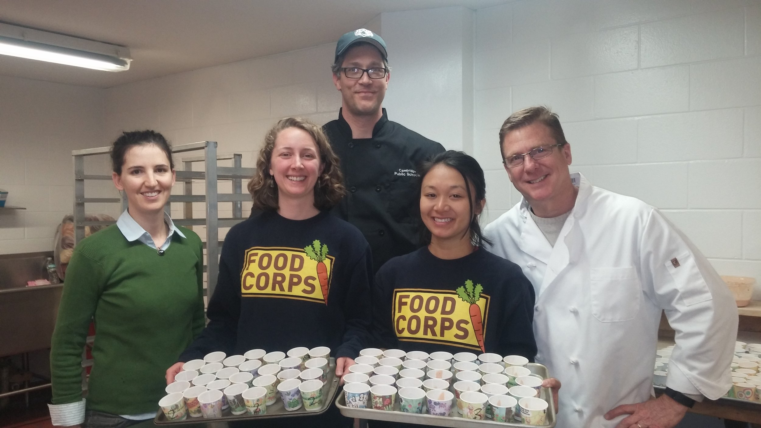 CitySprouts' FoodCorps Service Members Corey Carmichael and Rochelle Li with Mellissa Honeywood, Chef Andrew, and Chef Paul