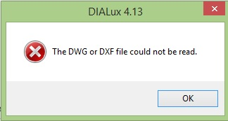 Error message in Dialux when newer version of drawing is loaded