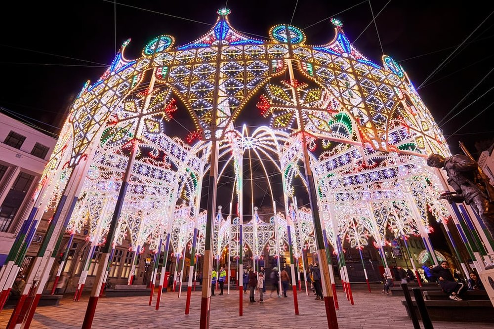 Dome and Arches, a fairytale structure studded with tens of thousands of LED lights to create a winter wonderland that dominates the Market Place Photo:   The Guardian