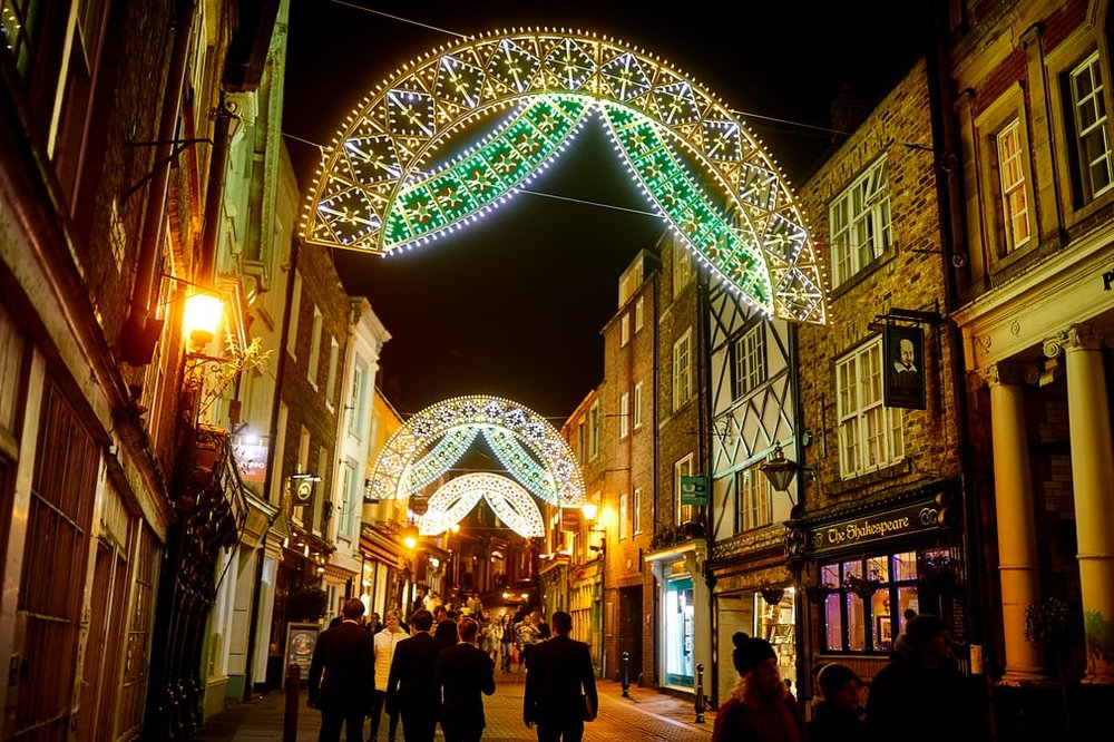 Saddler Street illuminated by Dome and Arches, created by the Italian architectural lighting company    Luminarie De Cagna    Photo:   The Guardian
