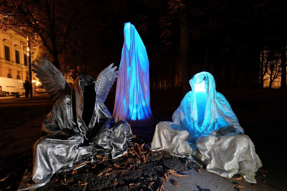 Festival of Lights Berlin – Guardians of Time by Manfred Kielnhofer. Photo:    kielnhofer.at