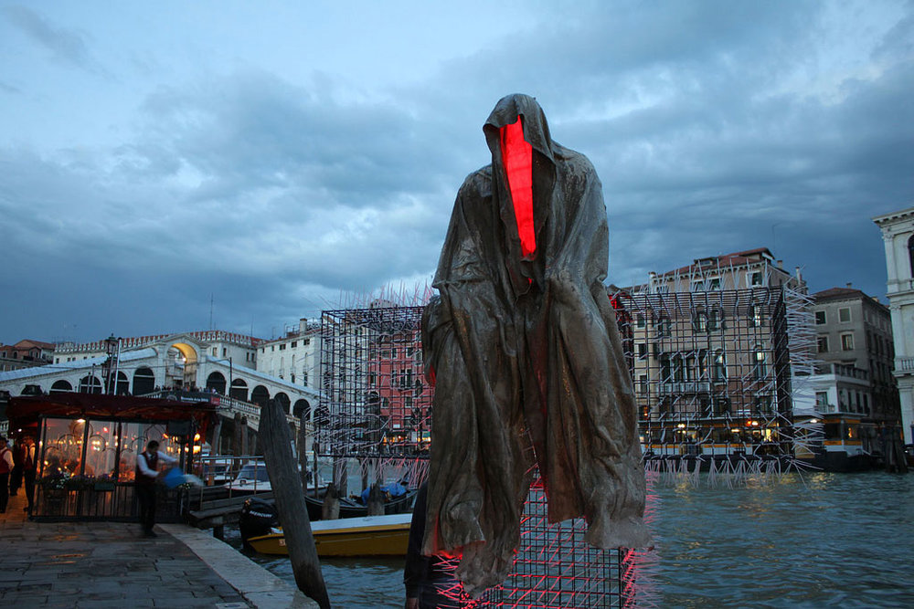 Public Venice Art Biennial T-Guardians by Christoph Luckeneder and Manfred Kielnhofer sculpture art tour.Photo:   kielnhofer.at