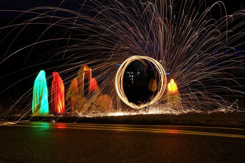 Public Art Basel light art fire show Swiss Scope Art at Basel Guardians of Time by Manfred Kielnhofer. Photo:   http://www.lightart-biennale.com/