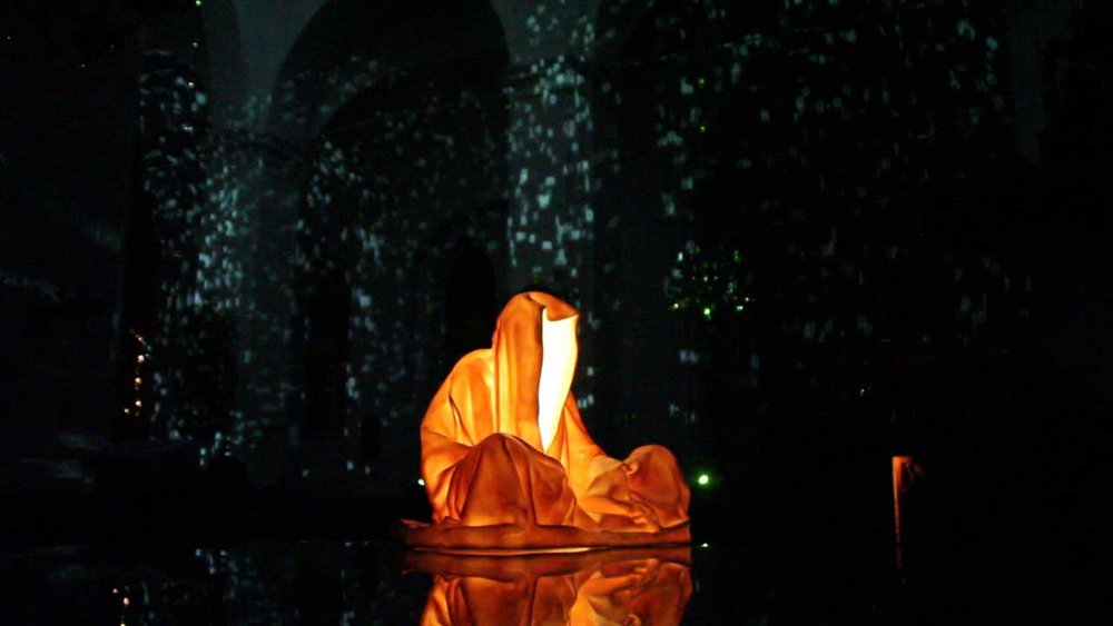 Kolding Light Festival Guardians of Time by Manfred Kielnhofer. Photo:   kielnhofer.at